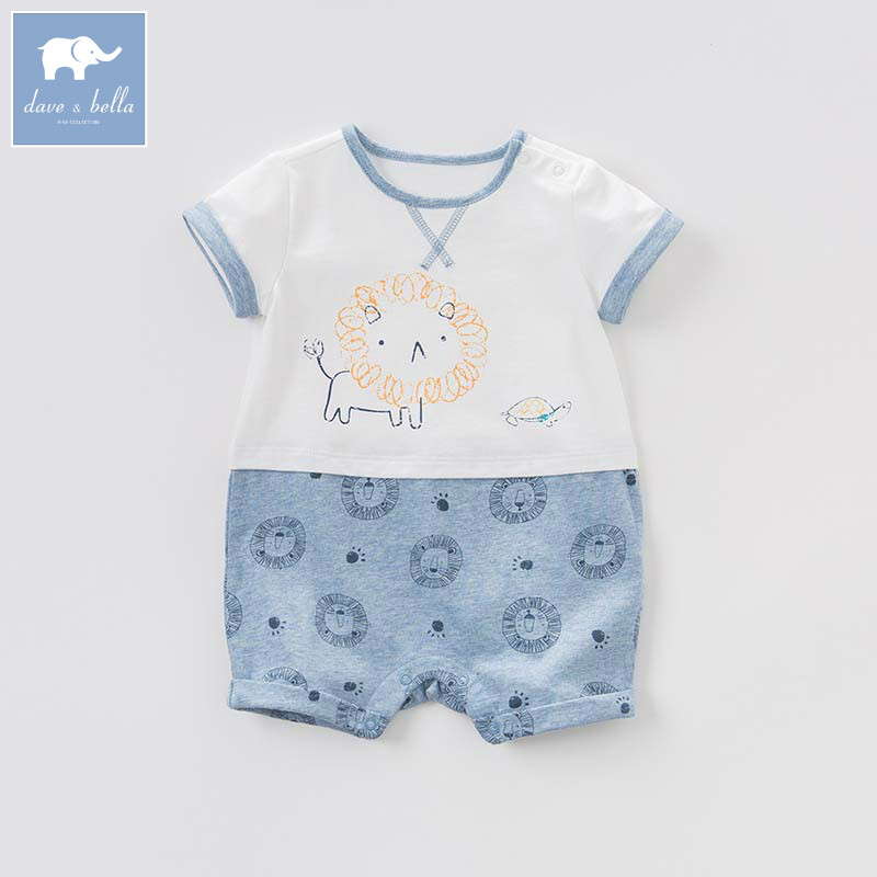 DBM7642 dave bella summer newborn boys fashion costumes infant toddler jumpsuits children lion print clothes baby romper timex t2n598