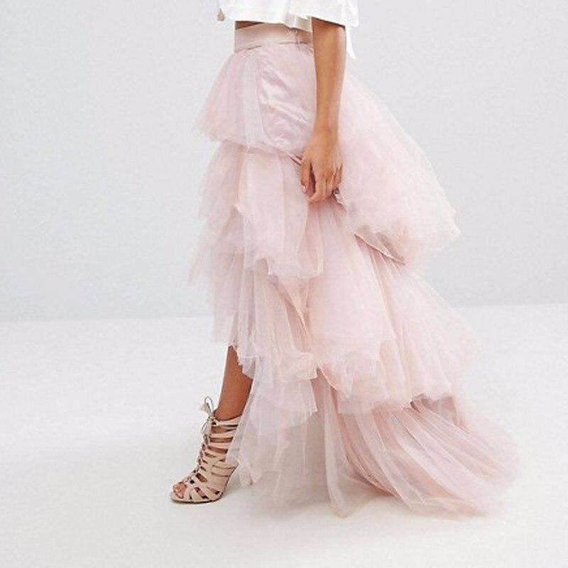 Esterno Ruffles Alta Donne Di Luce Lungo Rosa Delle Tutu Colore Pannello Modo Tulle Cus Partito Bassa 2018 Del Formale Gonne 7IYEwdxqT7
