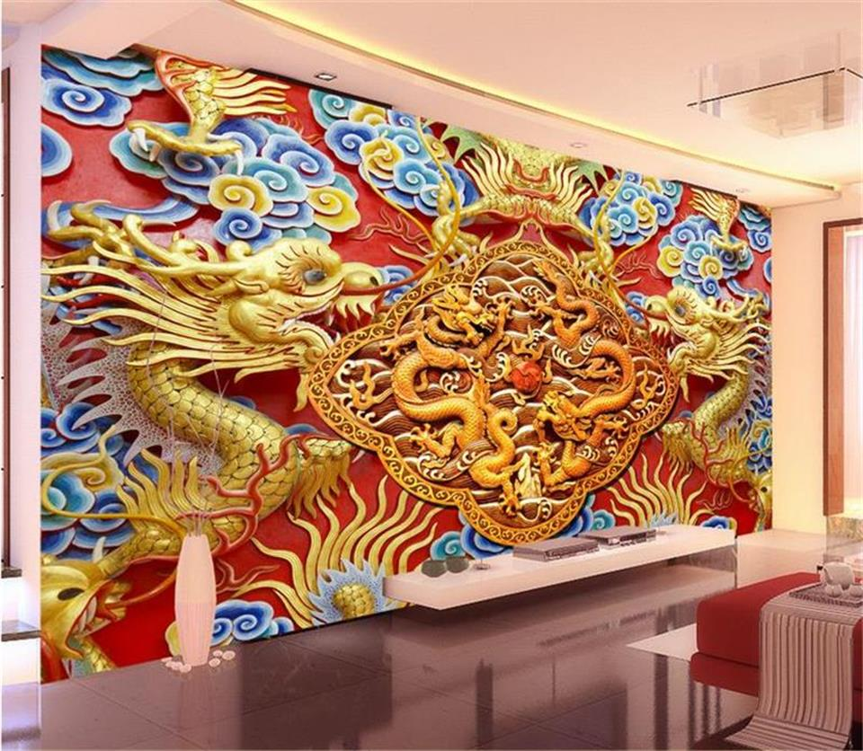 custom 3d photo wallpaper living room mural golden dragon wood carving 3d painting TV background non-woven wallpaper for wall 3d