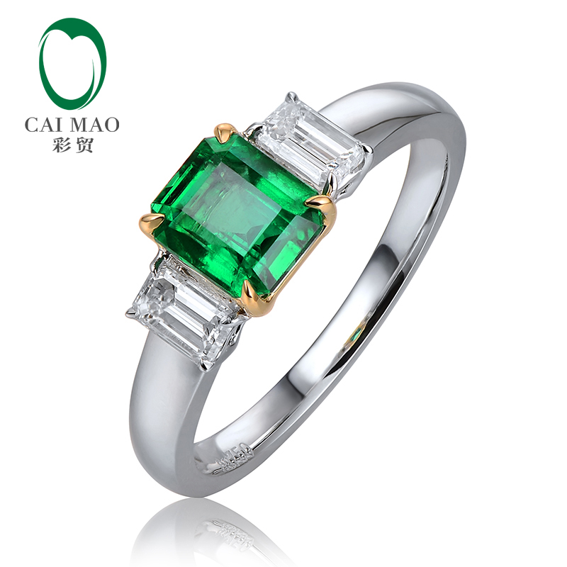 Caimao 1.05ct Natural Emerald 0.42ct Baguette Cut Diamond 18K White & Yellow Gold Engagement Wedding Ring Unisex caimao exquisite jewelry natural cabochon cut emerald baguette cut diamond 14kt white gold drop earrings