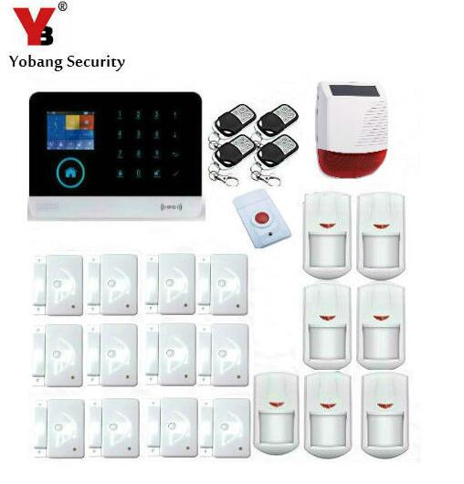 Yobang Security Solar Power Wireless Outdoor Strobe Siren Smart APP Control WIFI GSM Alarme Kits Panic Alarm Door/Window Sensor yobang security rfid gsm gprs alarm systems outdoor solar siren wifi sms wireless alarme kits metal remote control motion alarm