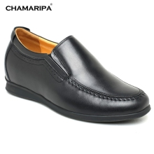CHAMARIPA Increase Height 6.5cm/2.56 inch Slip-On Casual Height Elevator Shoes Men Black Gentlemen Cow Leather Shoes Taller