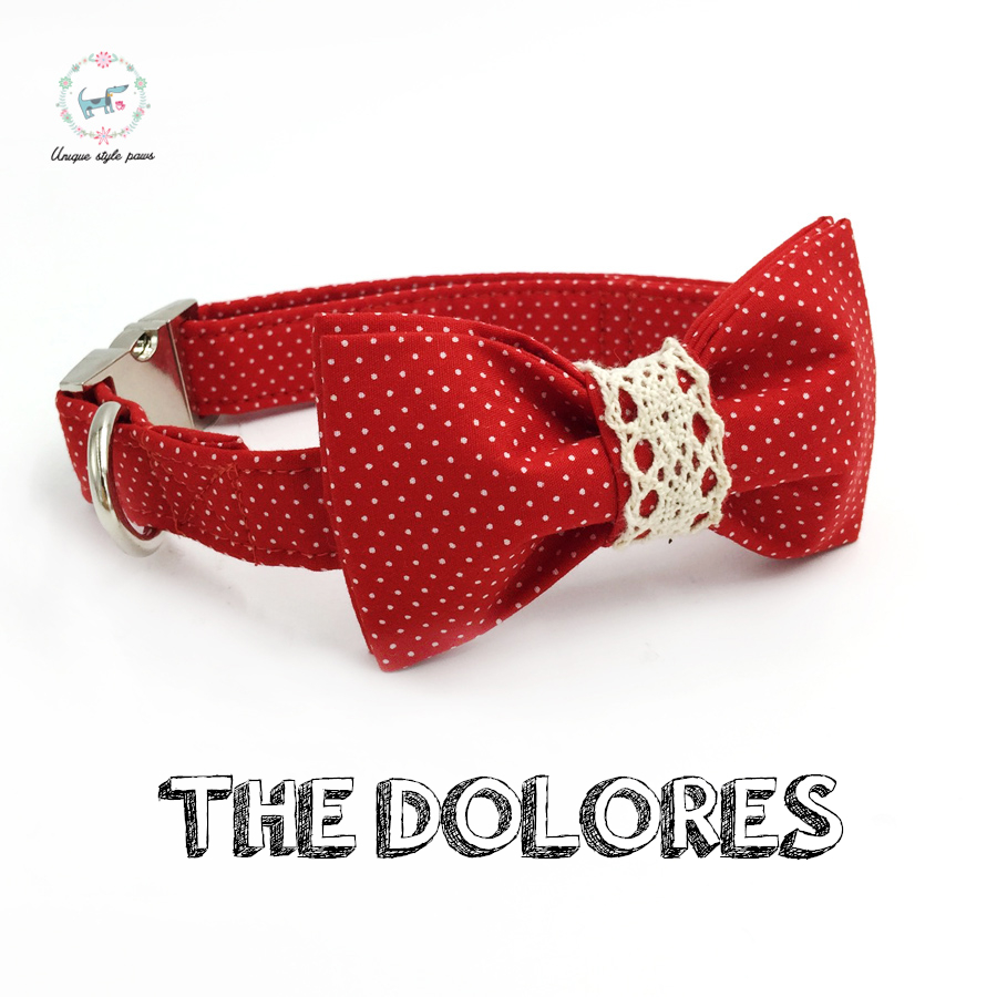 Red dot dog collar dan leash set dengan dasi kupu-kupu kustom pribadi adjustable pet pupply 100% cotton dog hadiah ulang tahun ...