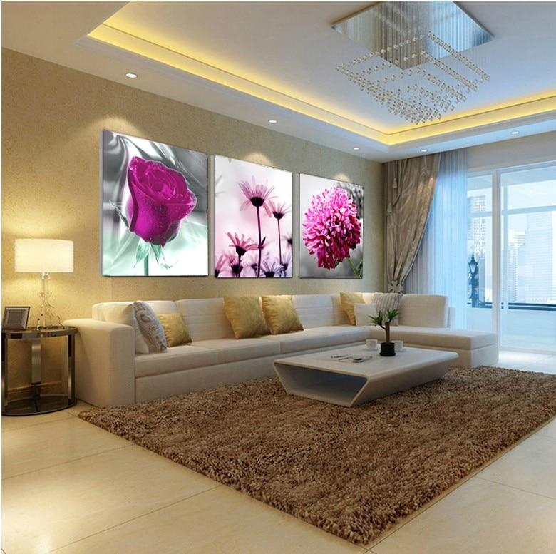 Flor de la pintura cuadros decorativos imagen de pared decorativos cuadros para sala de estar - Iluminacion para cuadros ...