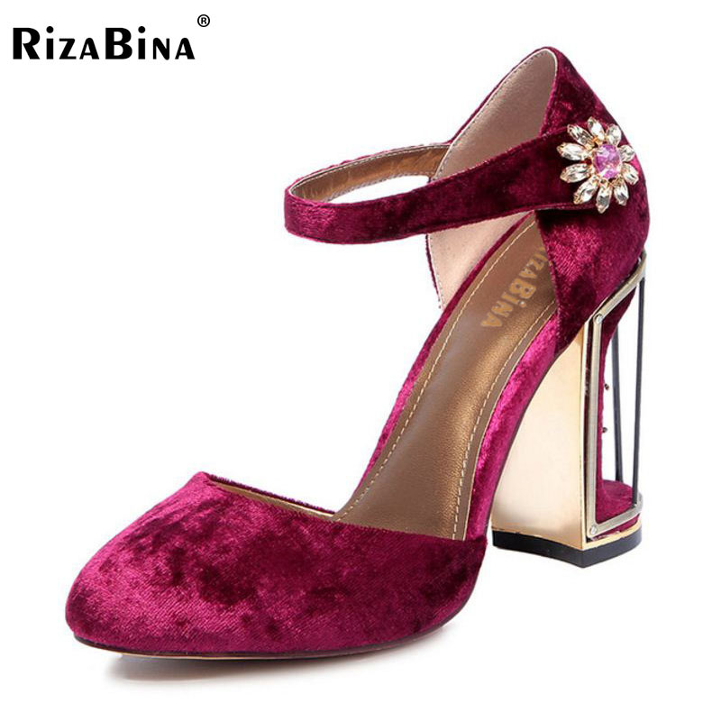 RizaBina Size 34-41 Women Wedding Shoes Real Leather High Heel Sandals Women Ankle Strap Flower Thick Heel Sandal Women Footwear rizabina sweety summer shoes women real leather thick high heel open toe sandals women buckle strap flower footwear size 34 39