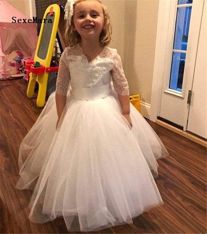 White Ivory New Arrival Flower Girls Dresses for Wedding Lace V Neck A Line Girls Birthday Gown Christmas Girl Dress Custom Made цена 2017