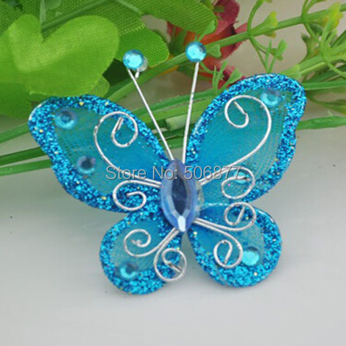 ①Hot Sale New 40CM 400Pcs Deep Blue Organza Wire Rhinestone Butterfly New Butterfly Home Decor Accessories