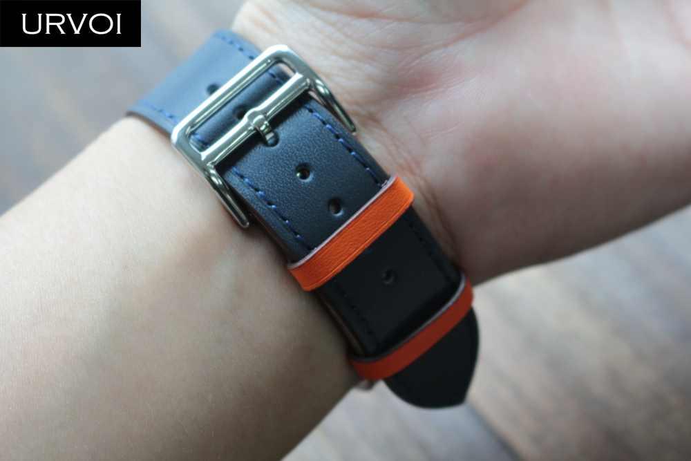 URVOI Single Tour band для apple watch series 6 5 4 3 2 SE Swift кожаный ремешок для iWatch Наручные Классические ручной работы 2020 40 44 мм