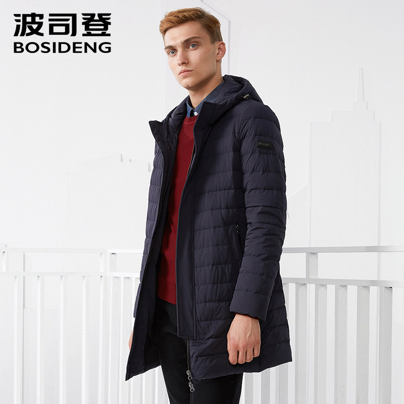 BOSIDENG men's white goose   down   jacket business fashion casual long   down     coat   winter thickening outerwear B70133003