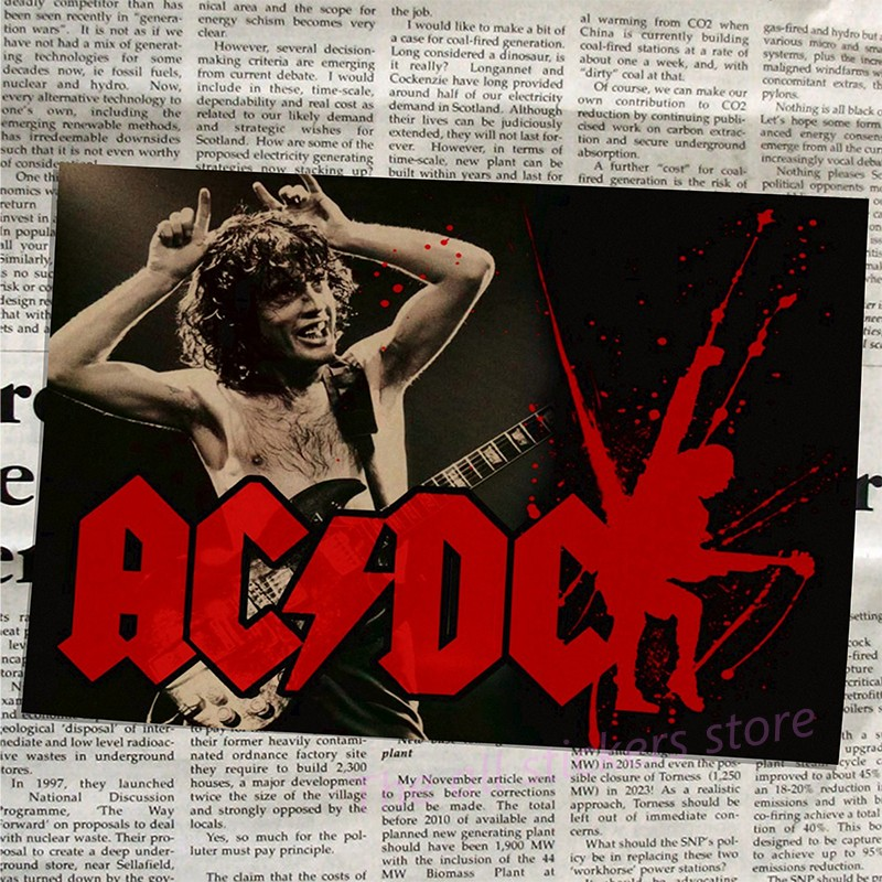Image 5 - acdc poster .Australian/rock band ACDC/Malcolm/Angus.Kraft Paper VintagePoster Vintage  Wall Sticker/6001-in Wall Stickers from Home & Garden