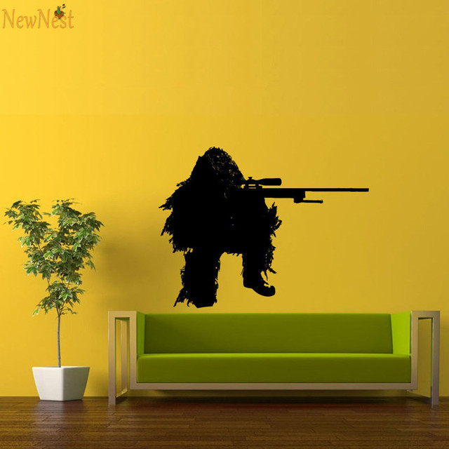 Sniper Soldier Wall Decals Vinyl Sticker Boy\'s Room Wall Art Mural ...