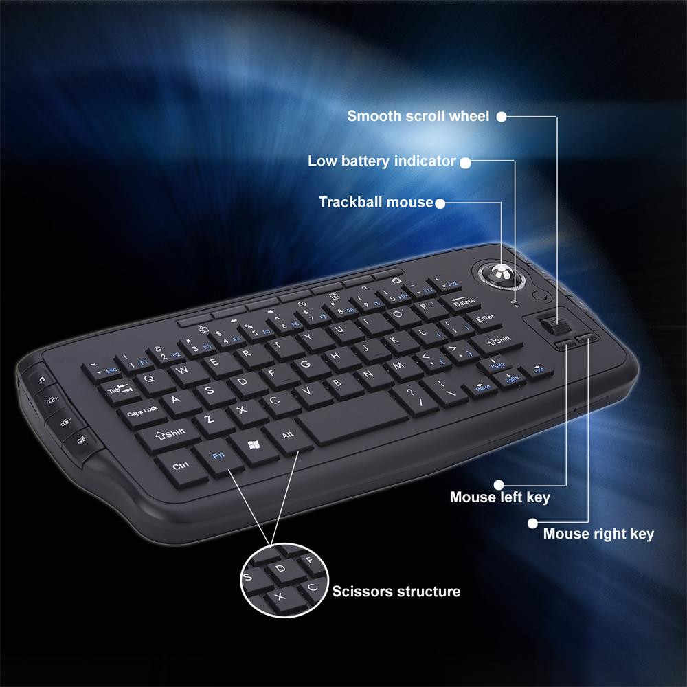 Voberry E30 2.4G Keyboard Nirkabel 2.4G Trackball Keyboard Portable Multi-Fungsi TV Box Portable Proyektor