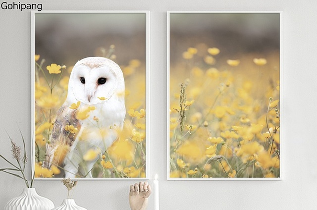 Aliexpress.com : Buy Fresh Yellow Owl Cute Animals II Frameless Wall ...