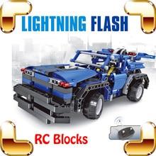 New Idea Gift 8005 Lightning Flash 4 CH RC Large Toy Car Blocks Vehicle Model Education Toy Collection DIY Radio Control Big Car