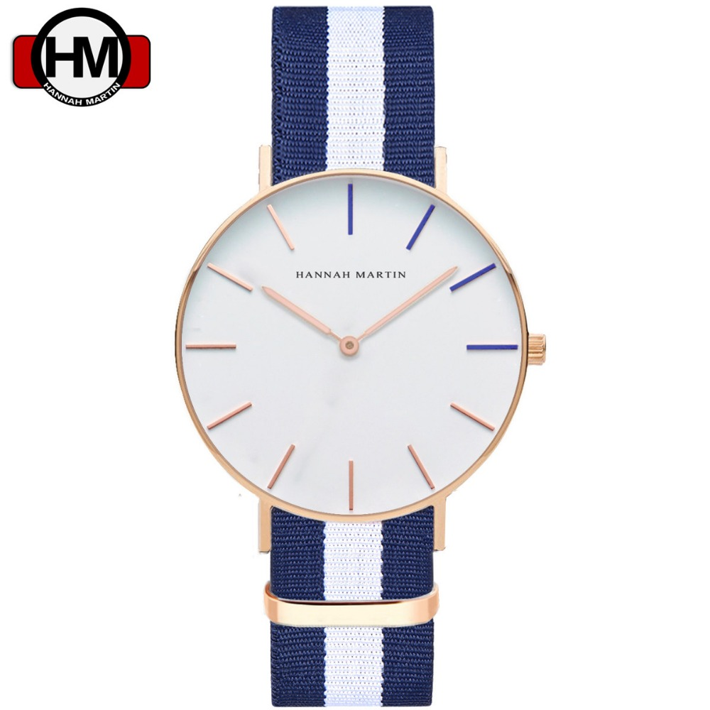 &Women Nylon Leather Rose Gold Clock 40Cm  Femme HANNAH MARTIN