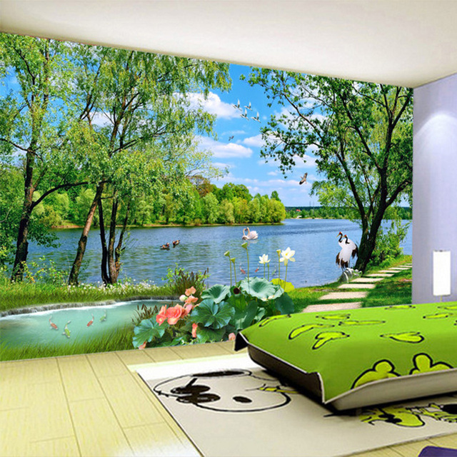 personnalis photo papier peint belle lac herbe chemin. Black Bedroom Furniture Sets. Home Design Ideas