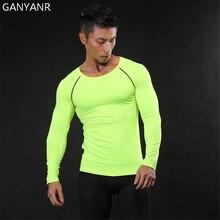 GANYANR Running T Shirt Men Basketball Tennis Tee Sports Fitness Sportswear Compression Gym Jogging Exercise Tights Rashgard Top
