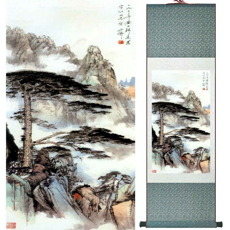 Mountain and river painting Home Office Decoration Chinese scroll painting mountain and River painting LTW2017121519