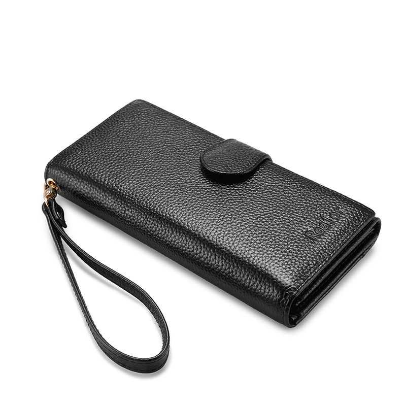 REALER wallets for women genuine leather long purse female clutch with wristlet strap bifold credit card holders RFID blocking camp safety steel d 3 lock