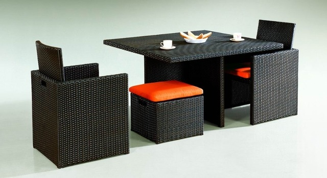 Sigma Outdoor Furniture Wicker Cube Dining Set Table Chairs Sets In