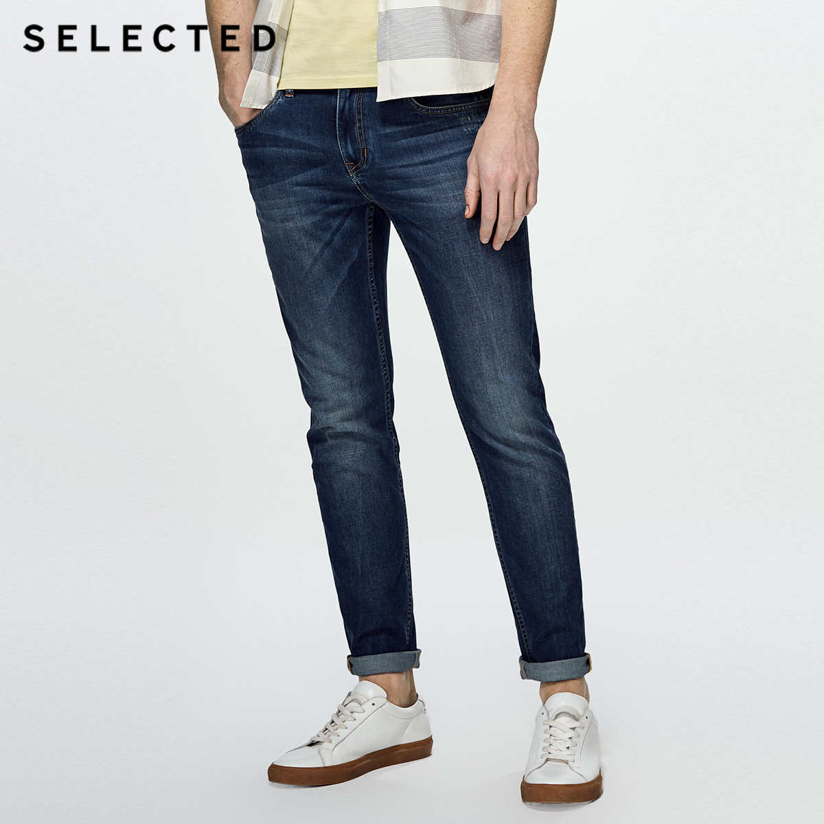 SELECTED Cotton-blend slim faded and washed jean pants C|418232519(China)