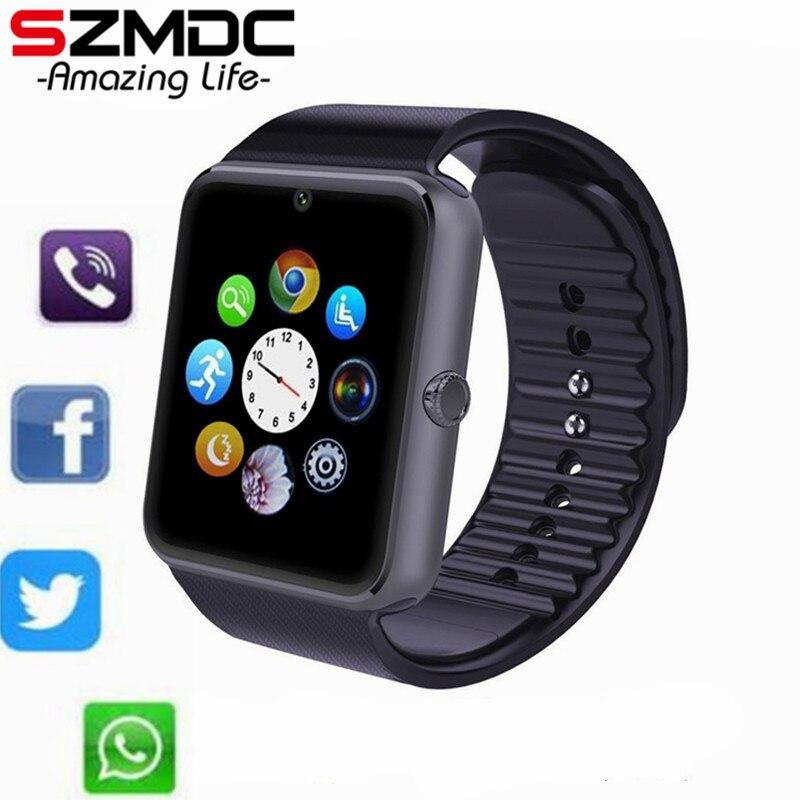 SZMDC mujer hombres deportivos Bluetooth reloj inteligente GT08 para IOS Android Teléfono de muñeca ropa apoyo sincronización reloj inteligente tarjeta Sim PK A1 DZ09