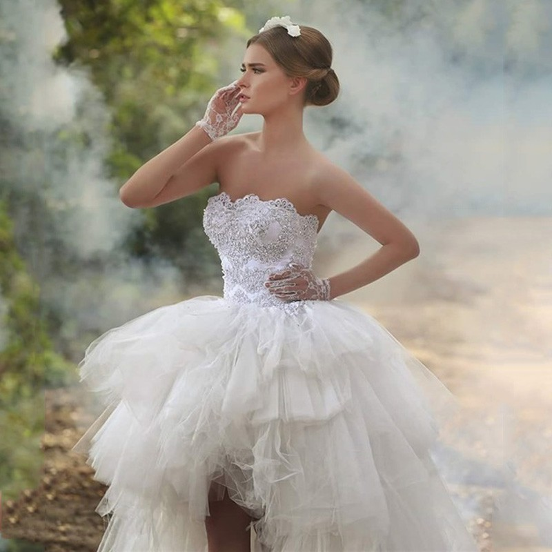 White Short Front Long Back Wedding Dress