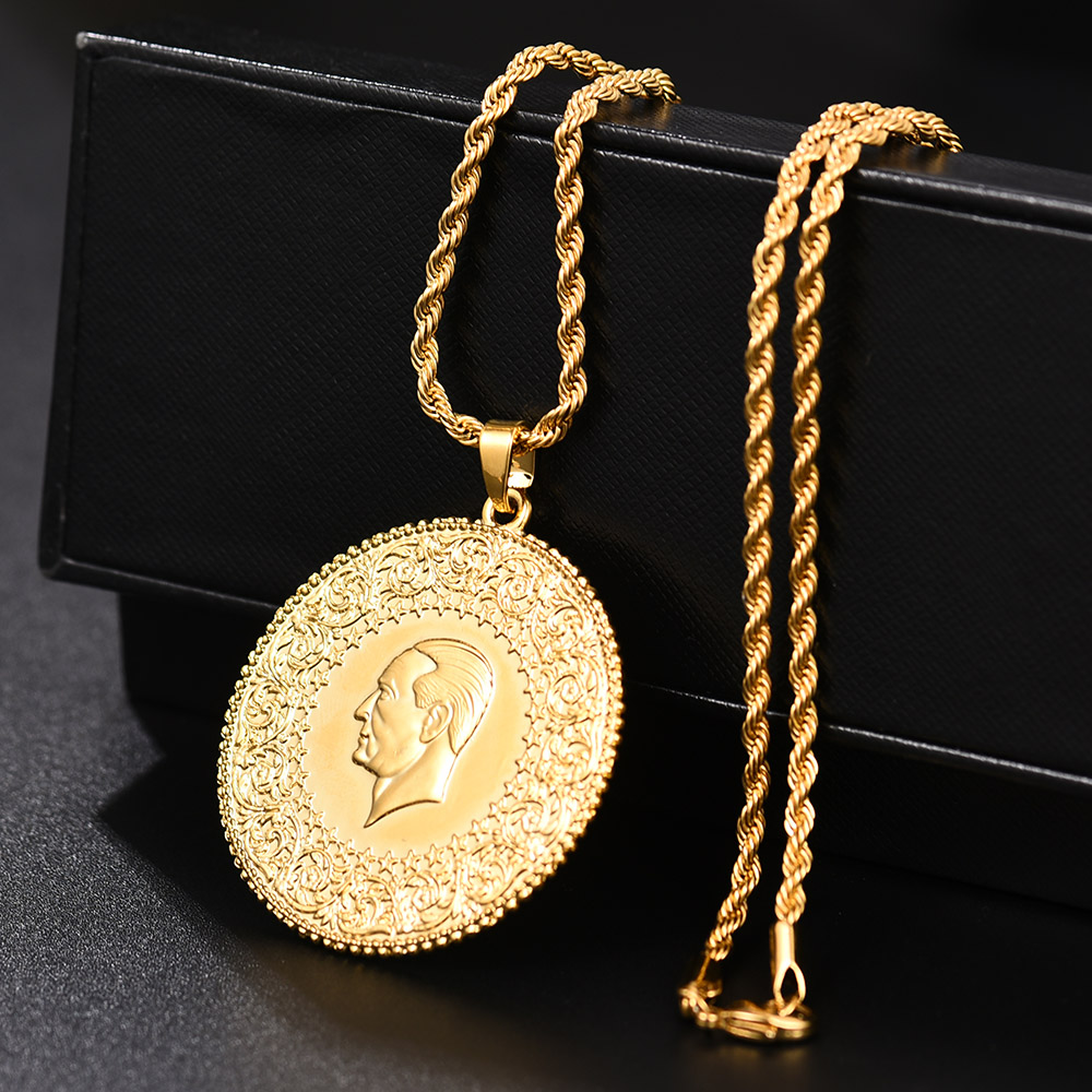 Image 5 - Three Size Muslim Islam Turkey Ataturk Pendant Allah Arab  Necklaces for Women Gold Color Turkish Coins Jewelry Ethnic  GiftsPendant Necklaces