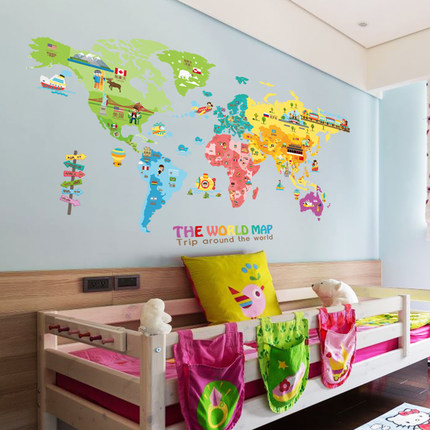 195CM World Map Kids Room Poster Tile Stickers Cartoon Animal Map ...