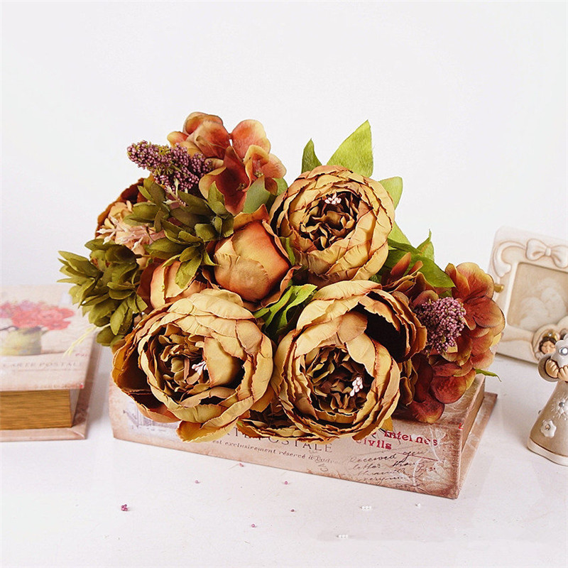 1Bunch Peony Silk Fake Artificial Flowers For Home And Hotel Decoration 9