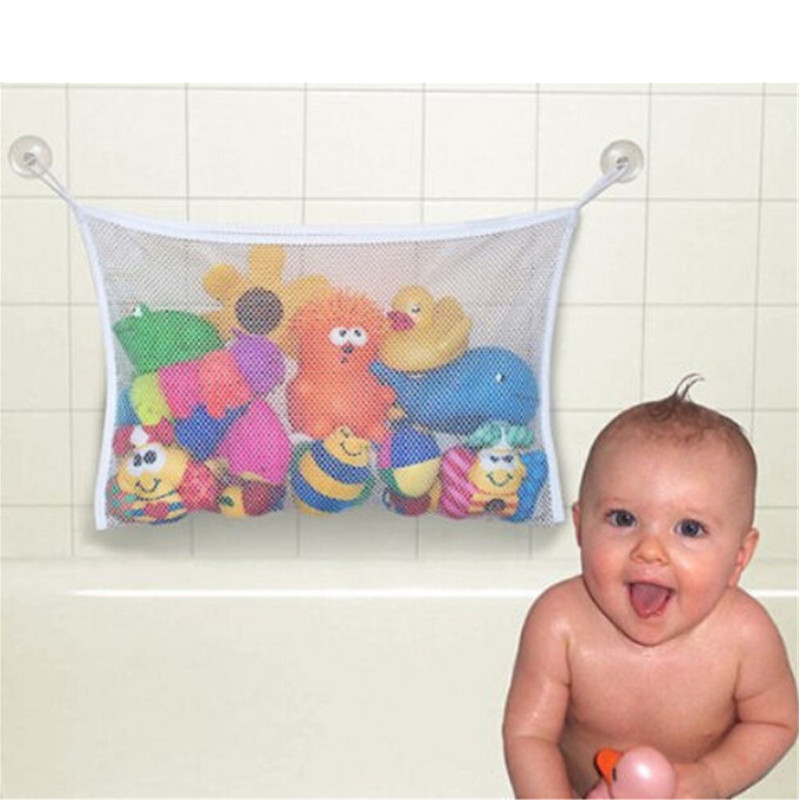 Folding Eco-Friendly High Quality Baby Bathroom Toy Mesh Child Bath Net Suction Cup Baskets
