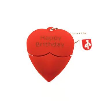 (over 10 PCS) Free LOGO customized  Red heart wedding gift USB Flash 2.0 Memory Drive Stick Pen/Thumbusb 4gb 8gb 16gb 32gb 64gb