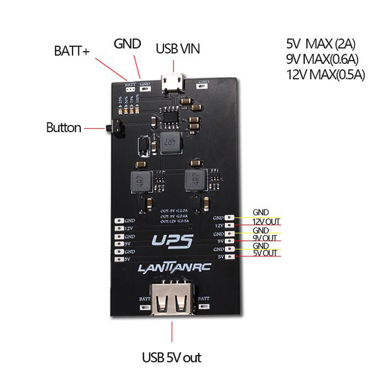 5/6/9/12V Boost Module Battery Charging Module Stepup Power Supply Board 18650 UPS Board UPS USB 18650 Battery Charge Controller dhl ems ups original 55pd8900tc power supply board lsjb1213 2 lsep1213a