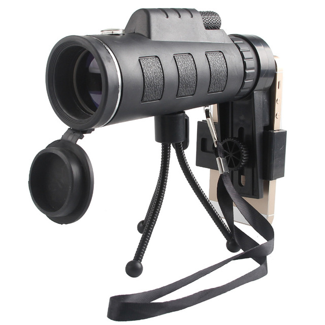 40X60 Monocular Telescope Zoom Optical Day Night Vision Prism Scope With Compass Phone Clip Tripod for Hunting Travel Camp