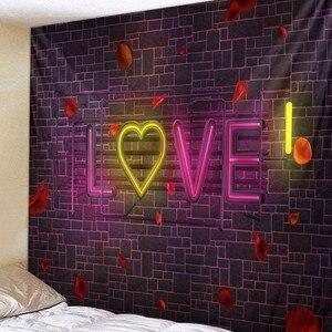 Image 3 - 웨딩 장식 태피스트리 벽 패브릭 히피 보홀 러브 로즈 태피스트리 벽 교수형 발렌타인 데이 선물 기숙사 매트리스 벽 카펫