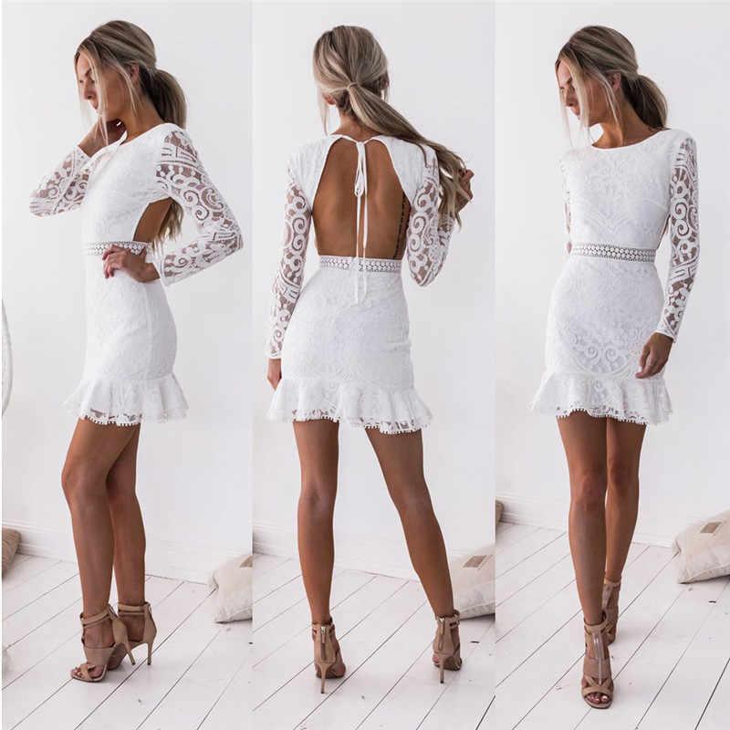 Moda damska Bodycon koronkowa sukienka jesienna letnia sukienka z wycięciem na plecach biała wieczorowa sukienki ołówkowe