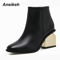 Aneikeh Autumn Winter Chelsea Boots New Style Retro Round Head Gold Ankle Boots Zipper Women Shoes Size 35 40 black