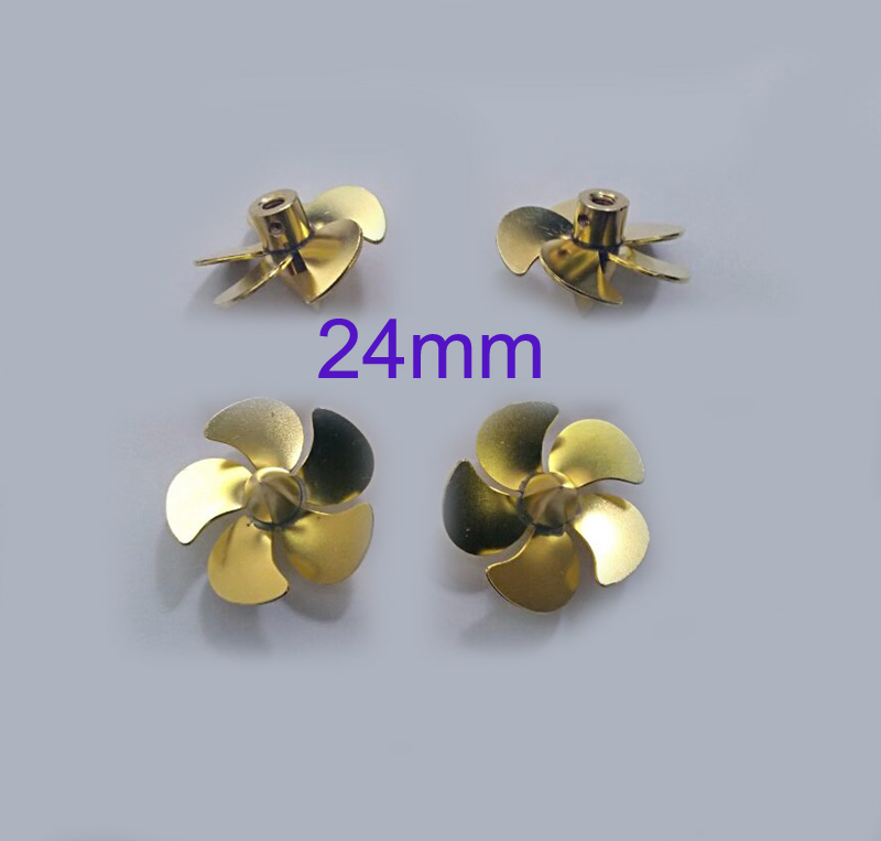 RC Boat Model Accessories Brass Propeller 5 Blades Paddle M3 Shaft Props Positive/Reverse Propellers For Simulation