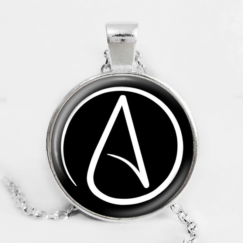 Blackwhite Atheist Symbol Vintage Choker Necklace Glass Cabochon