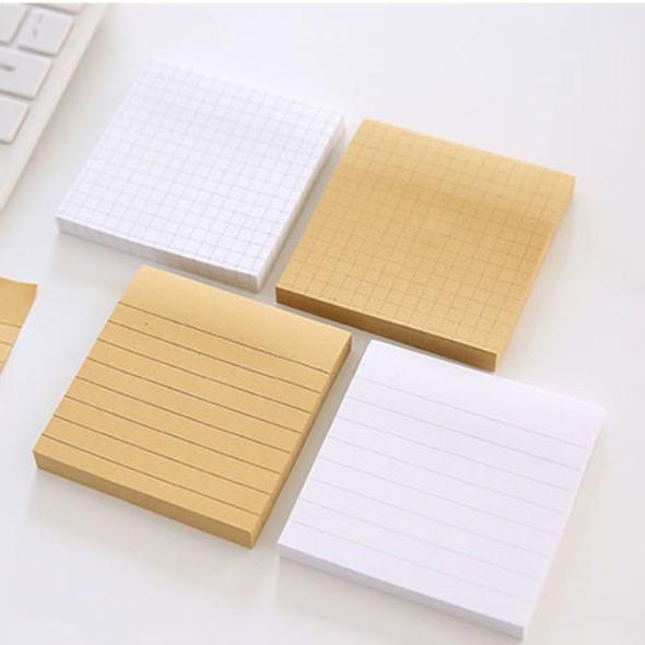 1 set Kraft memo pad sticky notes, post it notes, memo pads, memo sheets Horizontal line check 7.5*7.5*1.1cm