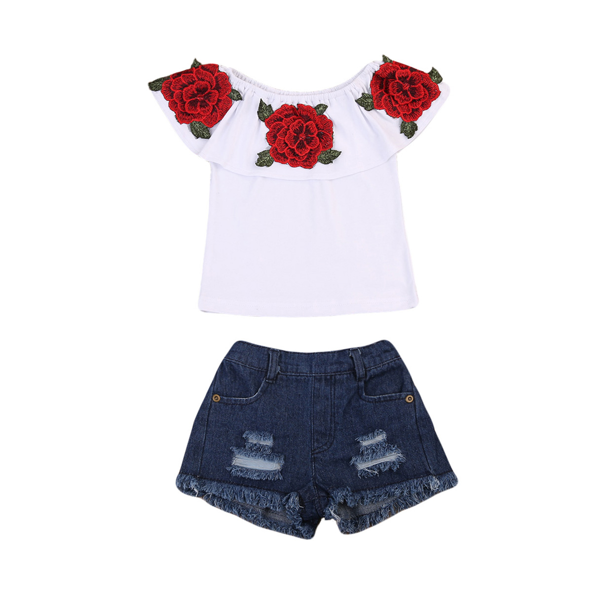 0-3Years,SO-buts Toddler Kid Baby Boy Summer Lovely Short Sleeve Glasses Pattern Shirt Tops+Denim Short Outfits Set