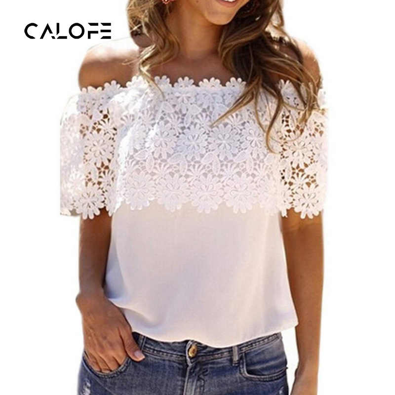 CALOFEE Off Shoulder Crochet Chiffon T-Shirts Women Lace Shirt Patchwork Solid T Shirts Slim Shirt Short Sleeve Summer Top
