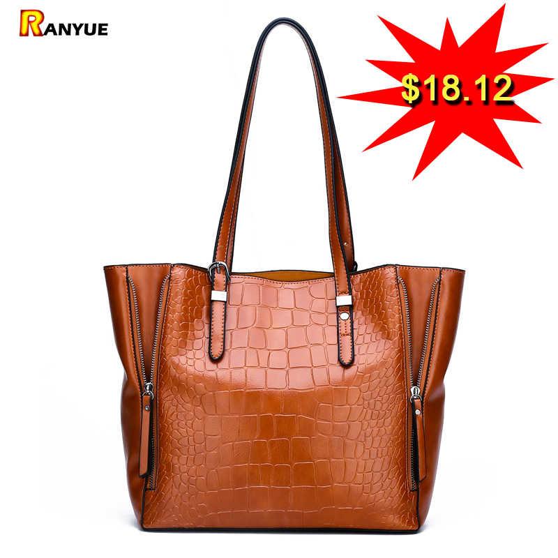 8ee0db10a65f Luxury Crocodile Bags Handbags Women Famous Brand Designer Female Big  Shoulder Bags For Women 2018 Double