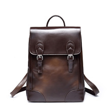 ETONWEAG New 2017 women brands cow leather brown preppy style backpack preppy style laptop school bags vintage casual travel bag