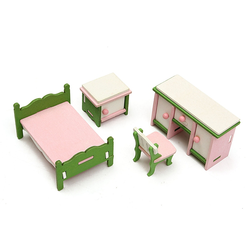 Kids Bedroom Furniture Kids Wooden Toys Online: New Pretend Toy Miniature Bedroom Wood Furniture Set Gifts