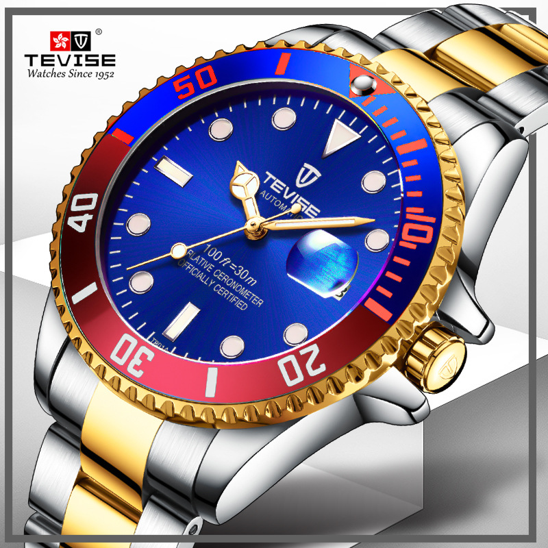 Men Mechanical Watches Automatic Stainless Steel Sport Watch Fashione Gold Clock