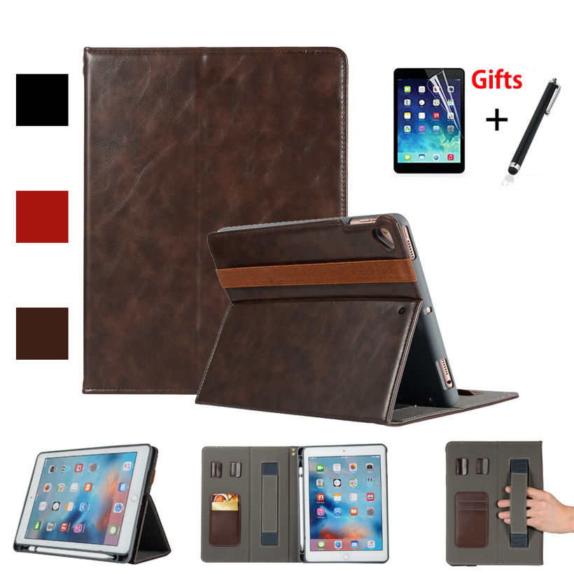 For Apple New iPad 9.7 2018 2017 Case With Pencil Holder Cover For iPad Air 1 2 iPad Pro 9.7 Fundas Tablet Stand Shell +Film+Pen silicone charging stand anti lost cap cover for ipad pro pencil touch stylus pen l059 new hot