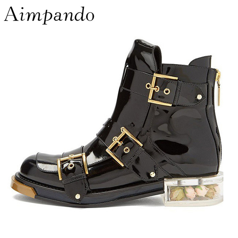 Punk Style Motorcycle Boots Studded Buckle Round Toe Hollow Out Clear Heel With Flower Decor Rivet Ankle Boots Women punk style solid color hollow out ring for women