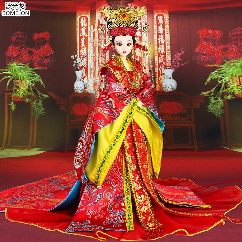 Ming Dynasty Bride Handmade Chinese Ancient Dolls Bjd 1/6 Jointed Doll Toys for Girls Gifts Brinquedos Menina Rapunzel Boneca handmade chinese ancient doll tang beauty princess pingyang 1 6 bjd dolls 12 jointed doll toy for girl christmas gift brinquedo