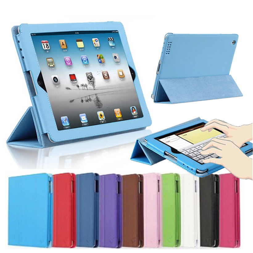 For iPad 2 3 4 Folio Style PU Imitation Leather Stand Cover Auto Sleep Wake Up